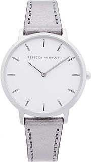 Rebecca Minkoff Women's Stainless Steel Quartz Watch with Leather Calfskin Strap, Grey, 16 (Model: 2200366)