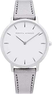 Women's Stainless Steel Quartz Watch with Leather Calfskin Strap, Grey, 16 (Model: 2200366)