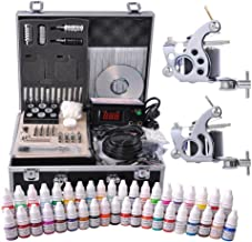 AW Complete Tattoo Kit 2 Machine Guns 10 Wrap 40 Inks LCD Power Supply Foot Switch Equipment Set with Carrying Case