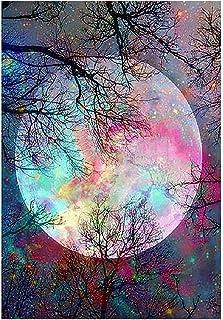 MWOOT DIY 5D Luna Diamante Pintura por Número Kit,Moon Bricolaje Diamond Painting Rhinestone Bordado de Punto de Cruz Artes Manualidades Lienzo Pared Decoración (30x40cm),Estilo A