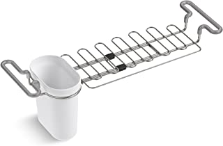"""KOHLER Multi-Purpose Over-the-Sink Drying Rack, Caddy with Kitchen Towel Bar Holder, Soaking Cup. Expandable 14.6"""" to 17.6..."""