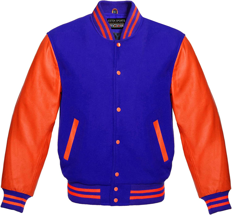 Premium Letterman Baseball School College Bomber Varsity Jacket Wool Blend & Genuine Leather Sleeves