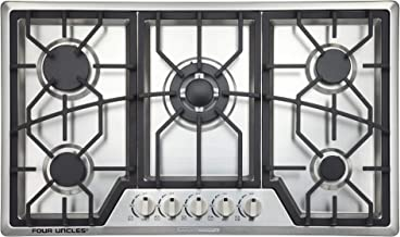 "34"" Gas Cooktop 5 Burners Gas Stove Stainless Steel Built-in/Counter Top LPG/NG Thermocouple Protection and Easy to Clean ..."