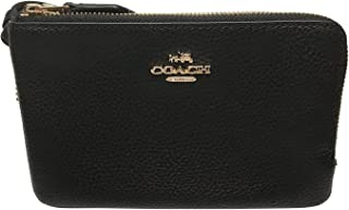 Coach Pebbled Leather Double Corner Zip Wristlet Black F87590