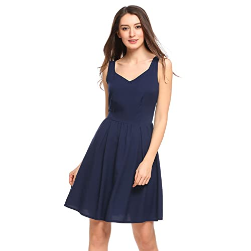 ACEVOG Women s Casual Fit and Flare Floral Sleeveless Beach Slip Strap Skater  Dress 65bc4974f