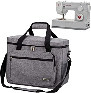 HOMEST Sewing Machine Carrying Case, Universal Tote Bag with Shoulder Strap Compatible with Most Standard Singer, Brother, Janome, Grey