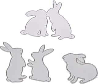 Hicarer 4 Pieces Bunny Cutting Dies Metal Stencil Template for DIY Scrapbooking Album Paper Card Embossing