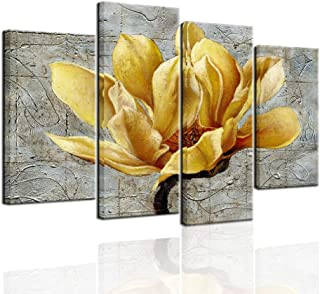 Biuteawal - 4 Panel Floral Wall Art Elegant Yellow Flower on Abstract Background Painting Canvas Print Still Life Artwork for Modern Home Kitchen Living Room Bedroom Wall Decoration Easy Hanging