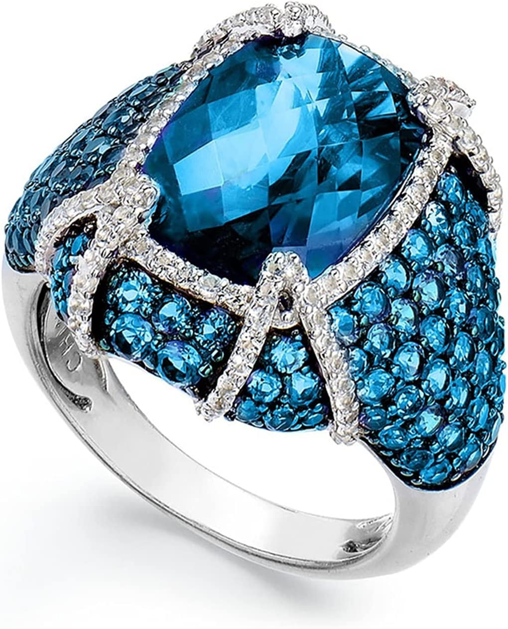 Ring Luxury Round Full Crystal Wedding Year-end annual account Rings Women Deluxe for Punk Men'