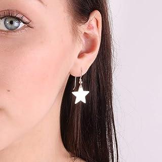 Orecchini in argento sterling 925 con grandi orecchini a forma di stella