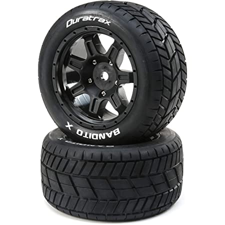 2 24mm Black Duratrax Bandito X Belted Mounted Tires DTXC5500