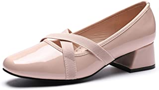 CINAK Women's Ballet Pumps Low Heel-Patent Leather Dress Fashion Shoes Comfort Classic Ballerina Chunky Heels