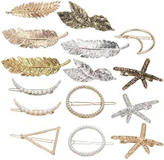 Jaciya 15pcs Hair Accessories for Women - Minimalist Dainty Hair Clips for Women Hollow Geometric Alloy Hairpin Clamps Pearl hair clips,Starfish, Leaf, Circle, Triangle and Moon Multiple Style