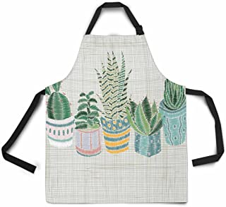 InterestPrint Embroidery Succulents Cactus Pots Colorful Floral Adjustable Bib Apron for Women Men Girls Chef with Pockets, Novelty Kitchen Apron for Cooking Baking Gardening Pet Grooming Cleaning