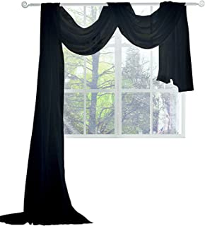 KEQIAOSUOCAI Black Sheer Window Scarf 216 Inches Long Window Sheer Black Scarves for Home Decor 52W x 216 L