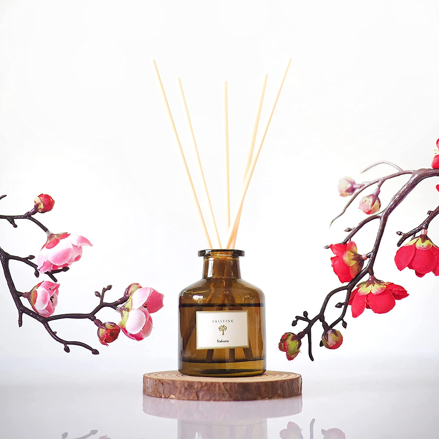 Reed Diffuser for Home | Smokey Sakura Fragrance Diffuser | Aromatherapy Diffuser Sticks | Scented Oil Diffuser Sticks | Reed Diffuser Set | Scented Sticks Diffuser | Perfect for Calming & Restoring