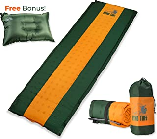 Ryno Tuff Sleeping Pad Set, Self Inflating Sleeping Pad with Free Bonus Camping Pillow, The Foam Camping Mattress is Large, Comfortable and Well Insulated, Yet Compact When Folded