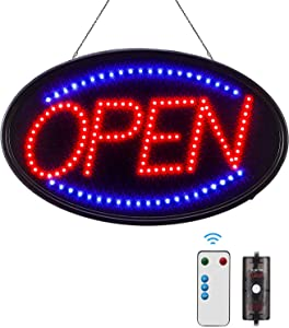 LED Open Sign, FITNATE Large 23x14 inch Business Open Sign with Remote Electric Display Sign,2 Modes Flashing & Steady Lights for Business, Shop, Bar, Hotel