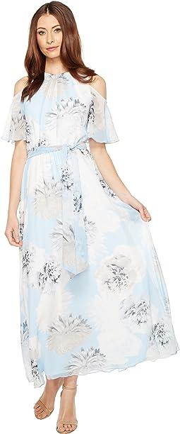 Printed Maxi with Cold Shoulder Flutter Sleeve Dress