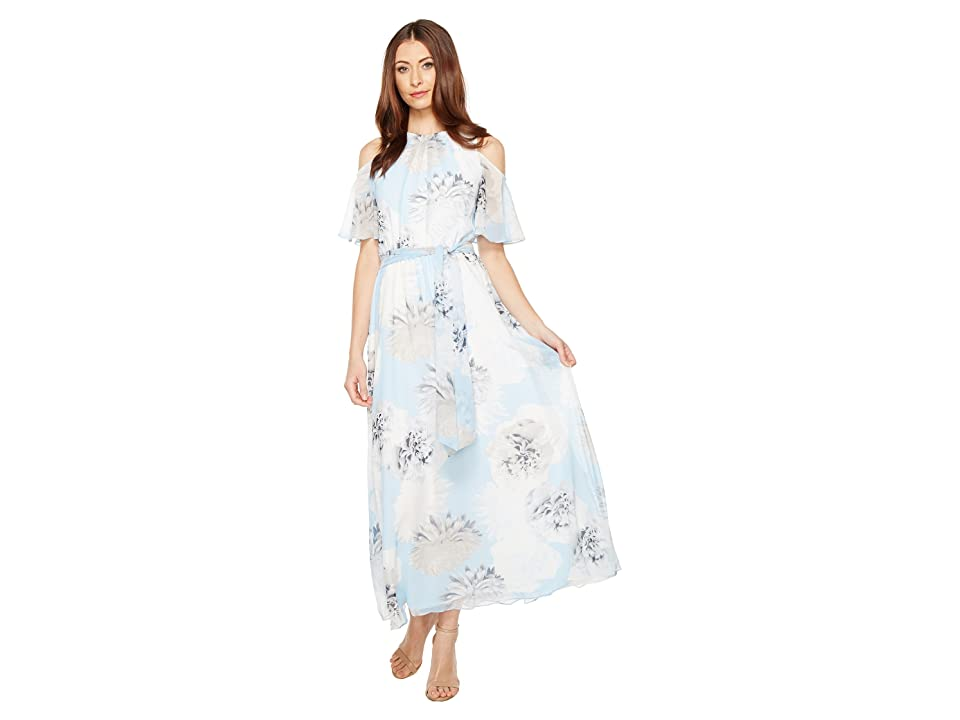 Calvin Klein Printed Maxi with Cold Shoulder Flutter Sleeve Dress (Iceberg Multi) Women