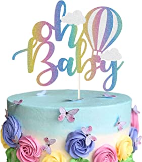 Oh Baby Hot Air Balloon Cake Topper - Rainbow Glitter Up & Away Baby Shower Cake Decor -1st Birthday Kids Birthday Party D...