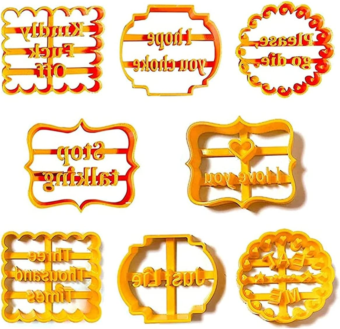 8 Pcs Funny Cookie Cutters Molds with Wish Words,Biscuit Mold for Kitchen Baking DIY,Cookie Molds with with Rude Sayings Words (8 Pcs)