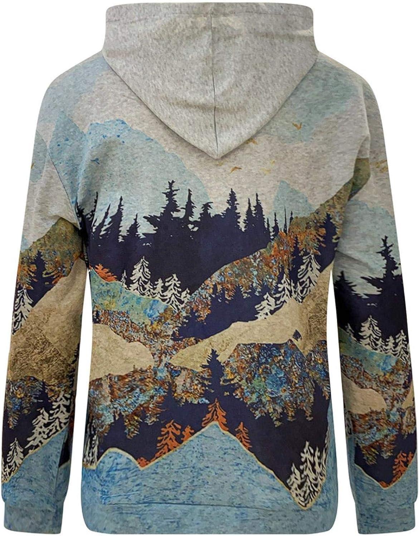 Briskorry Damen Hoodie Berg Drucke Pullover, Sweatshirts mit Kapuzen, Langarmer Jacke Mantel Bergdruck Lässiges Top für den Herbst Winter Gray-1