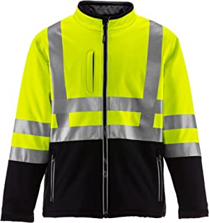 RefrigiWear Men's Hivis Insulated Softshell Jacket - ANSI Class 2 High Visibility with Reflective Tape