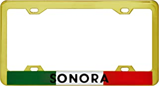 1clickautoacc Sonora Metal Triple Gold Plated License Plate Frame