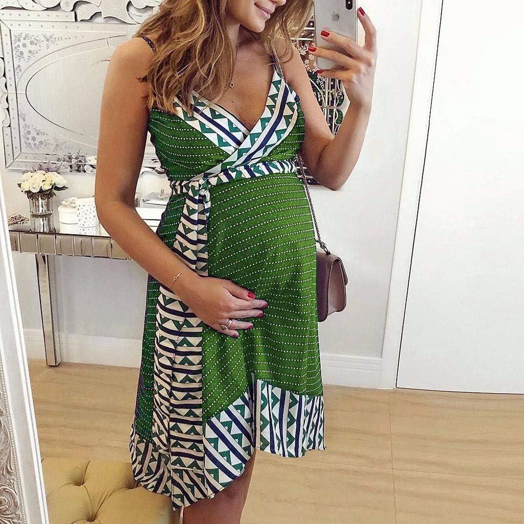 Iusun Womens Maternity Sling Dress Lace Stripe V-Neck Solid Sundress Nursing Baby Breastfeeding Pregnants for Summer Daily Vacation Holiday