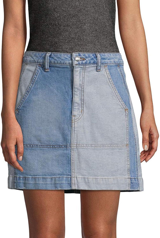 Derek Lam 10 Crosby Womens Patchwork MidRise Denim Skirt