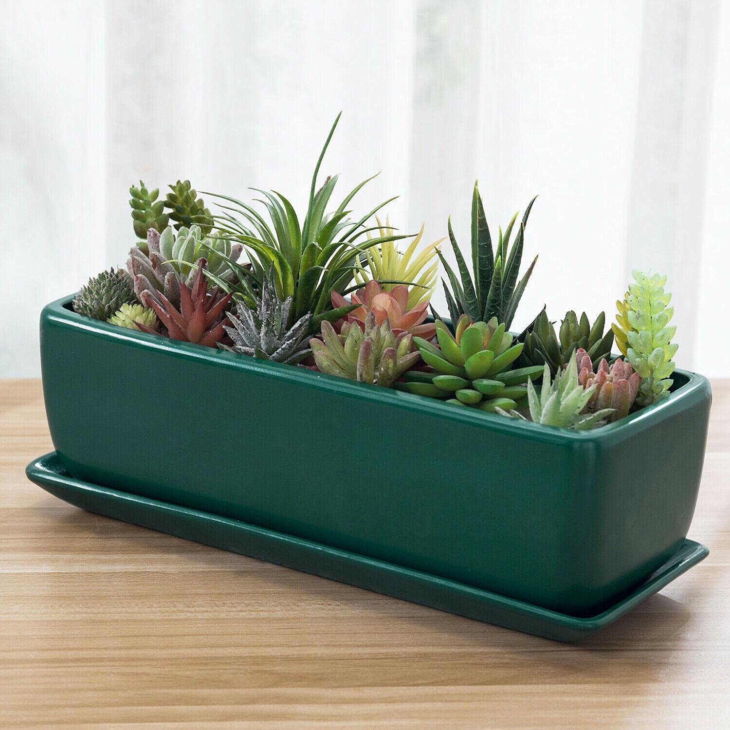 14-inch Modern Turquoise Ceramic Succulent Planter Max 2021 spring and summer new 59% OFF Rectangular W