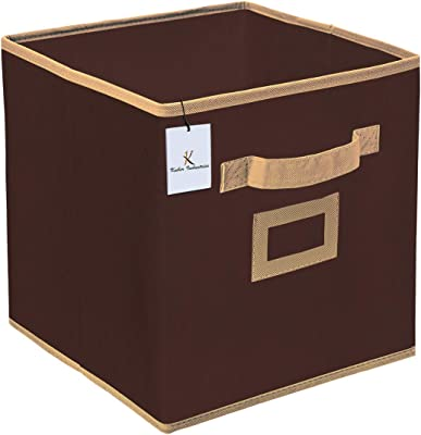 Kuber Industries Non Woven Fabric 2 Pieces Foldable Large Size Storage Cube Toy, Books, Shoes Storage Box with Handle, Extra Large (Brown)-KUBMART1773