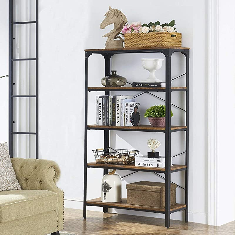 O K FURNITURE 5 Shelf Industrial Bookcase And Book Shelves Metal Bookshelf Rack For Display And Storage 61 4 H X 33 W X 13 D Barn Wood Finish