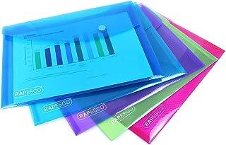 Rapesco 1498 gekleurde transparante documentenmappen A5 verzamelmappen (5 stuks) verschillende kleuren 5 stuks. 5 Stuk doo...
