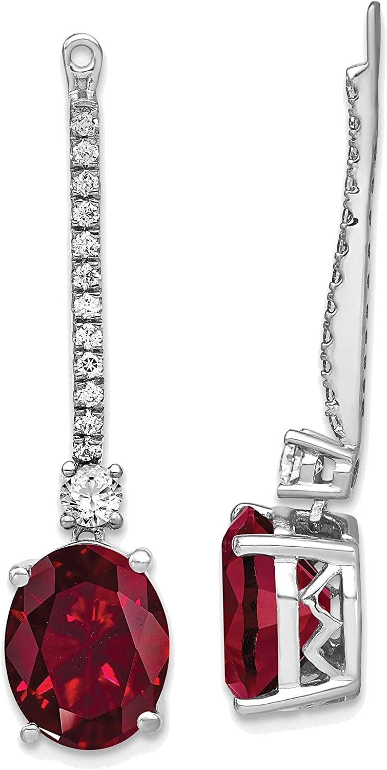 14kt White Gold Lab Grown Diamond & Created Ruby Earring Jackets
