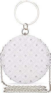 UBORSE Clutch Beige Glitzer Clutch Ivory Perlen Desigual Tasche Kleine Weiß Handtasche Damen Ketten Abendtasche für Hochze...