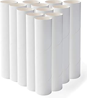 Genie Crafts 12-Pack Craft Rolls - 8-Inch White Paper Cardboard Tubes for DIY Arts and Crafts Projects