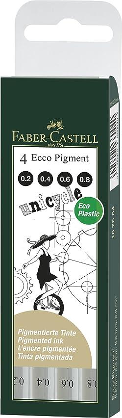 Faber-Castell Ecco Pigment Fibre Tip Pen Wallet, 4 Black Pens (0.2, 0.4, 0.6 & 0.8mm)