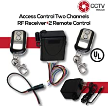 Access Control 2 Mini 433.92Mhz Wireless Fixed Code Remotes with Two Channels RF Receiver Momentary Switch, One DC Power Plug Female Connector and One 12VDC 2Amps UL Certified Power Supply Kit