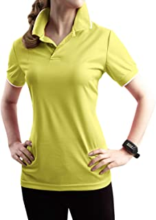 TWINTH Womens Active & Solid Polo Short Sleeve Button Polo Shirt with Plus Size