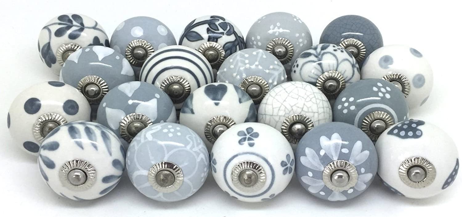 Zoya's Grey & White Hand Painted Ceramic Knobs Cabinet Drawer Pull by Zoya's (40 knobs)