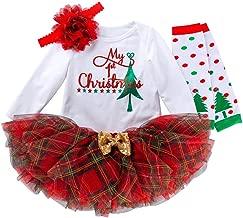 PLENTOP 3PCs Baby Girls Christmas Costume Newborn 1st Xmas Romper Bodysuit + Princess Tutu Dress+ Headband Party Outfits