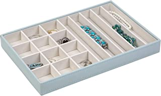 Richards Homewares JEWELREY Organizer Trays, Display and Storage, Holder for Earrings, Bracelets, Necklaces & All Kinds of Jewelries – 17 Compartment-Porcelain Blue, 12 x 8 x 1.4,
