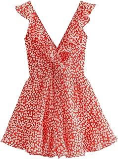 Women's Boho Crochet V Neck Halter Backless Floral Lace Romper Jumpsuit