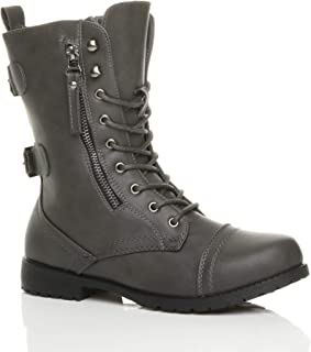 Ajvani Women's Ladies Flat Low Heel Lace up Zip Combat Army Military Ankle Boots Size