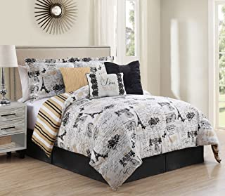KingLinen 7 Piece Queen Oh-La-La Reversible Comforter Set