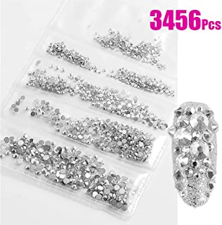 Rhinestones for Nails 3456 Pieces Crystal AB/Clear Crystal Flatback Glass Rhinestones Nail Art Crystals Diamond Art Round Flatback Gems Stones DIY Decoration (Clear Crystal Mixed ss4 5 6 8 10 12)