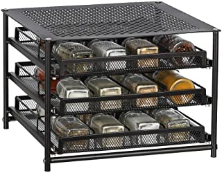 NEX 3-Tier Spice Rack 24-Bottle Standing Spice Drawer Storage Organizer for Kitchen Cabinet Countertop Dark Brown