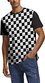 Men's Dri Fit T Shirt Pearl-Drums-Black-and-White-Plaid- All Over Print Crewneck Short Sleeve Tee